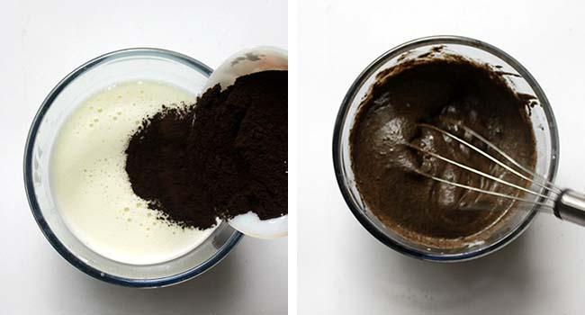 tambahkan kopi dan aduk