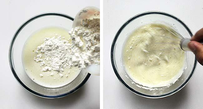 masukkan tepung dan aduk